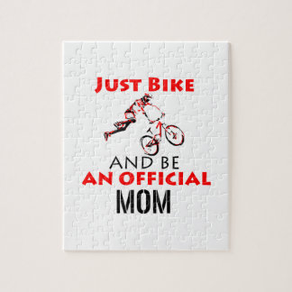 Funny Cycling mom Jigsaw Puzzle