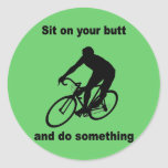 Funny cycling round sticker