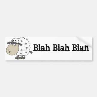 Funny Cynical Sheep says Blah Blah Blah Bumper Sticker