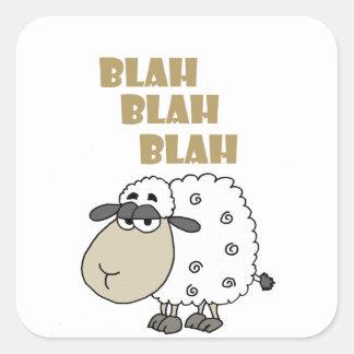 Funny Cynical Sheep says Blah Blah Blah Square Sticker