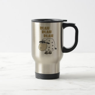 Funny Cynical Sheep says Blah Blah Blah Travel Mug