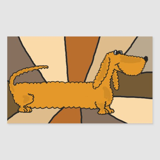 Funny Dachshund Art Rectangle Sticker