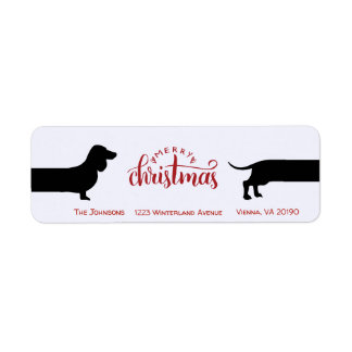 Funny dachshund Christmas return label