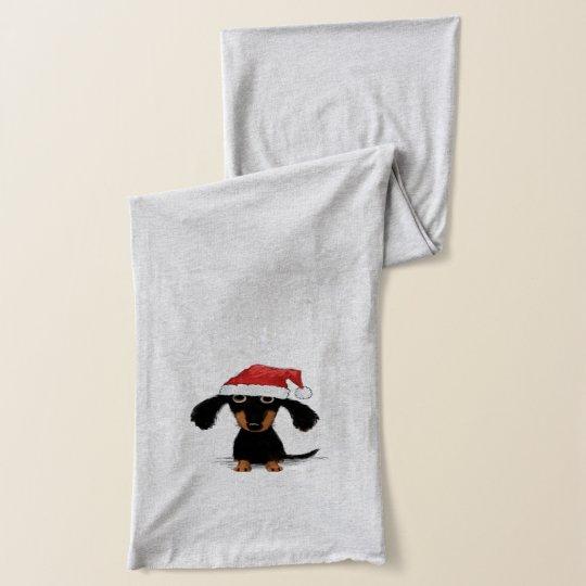 Funny Dachshund Christmas Santa Clause Scarf Wrap