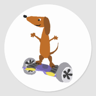 Funny Dachshund Dog on Hoverboard Classic Round Sticker