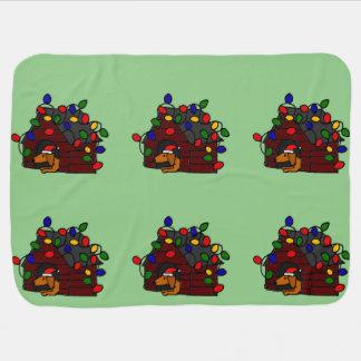 Funny Dachshund in Christmas Doghouse Stroller Blanket