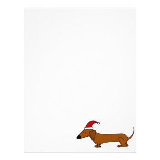 Funny Dachshund in Santa Hat Christmas Cartoon Customized Letterhead