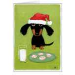 Funny Dachshund Santa with Milk and Cookies