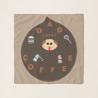 Funny Dad Monster Loves Coffee Chiffon Scarf