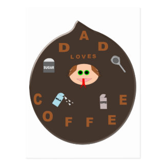 Funny Dad Monster Loves Coffee Postcard