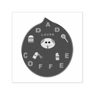 Funny Dad Monster Loves Coffee Self Inking Stamp