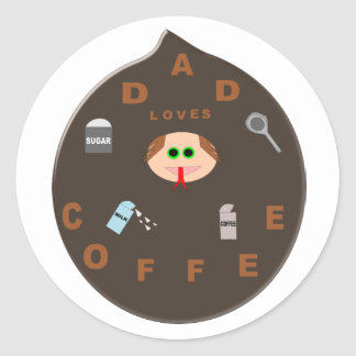 Funny Dad Monster Loves Coffee Stickers