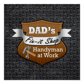Funny Dad's Fix-it Shop Handy Man Father's Day Perfect Poster