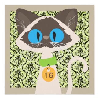"Funny Damask Cat Script 16th Birthday Party 5.25"" Square Invitation Card"