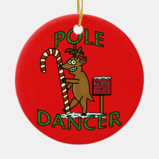Funny Dancer Christmas Reindeer Pun Round Ceramic Ornament