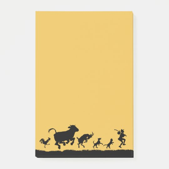 Funny Dancing Animals Cow Chicken Goat Silhouette Post-it Notes