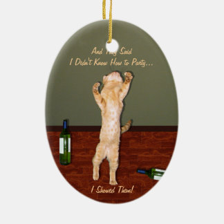 Funny Dancing Orange Party Cat Christmas Tree Ornament