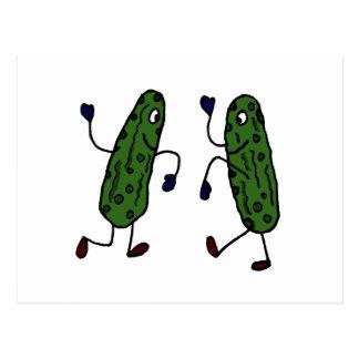 Funny Dancing Pickles Art Postcard