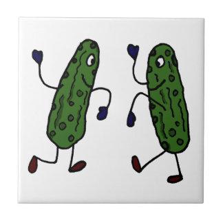 Funny Dancing Pickles Art Ceramic Tiles