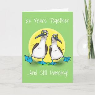 Funny, dancing sea birds cartoon illustration card