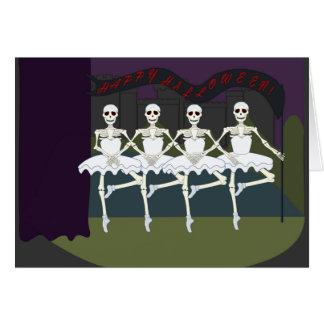 Funny Dancing Skeletons Ballerina Tutu Halloween Card