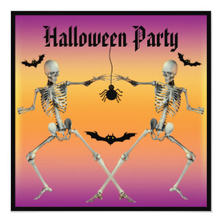 """Funny Dancing Skeletons Halloween Party 5.25"""" Square Invitation Card"""