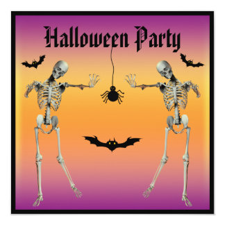 Funny Dancing Skeletons Halloween Party Personalized Invitation