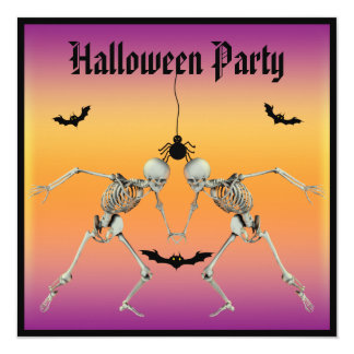 Funny Dancing Skeletons Halloween Party Personalized Announcement