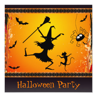 Funny Dancing Witch and Cat Halloween Party 5.25x5.25 Square Paper Invitation Card