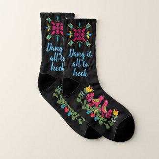 "Funny ""Dang It All"" Fraktur Floral Women's Socks"