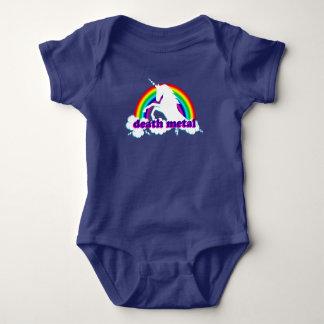 Funny Death Metal Unicorn and Rainbow Baby Bodysuit