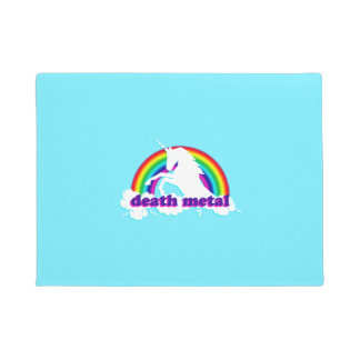 Funny Death Metal Unicorn and Rainbow Doormat