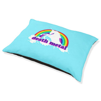 Funny Death Metal Unicorn and Rainbow Large Dog Bed