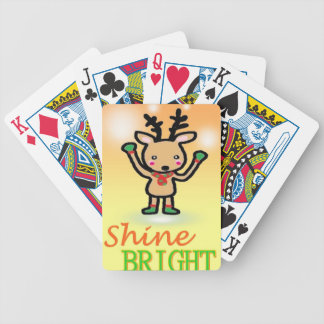 Funny deer cartoon Shine Bright quotes Bicycle Playing Cards