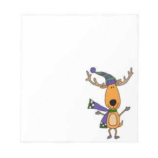Funny Deer in Winter Scarf and Hat Notepad