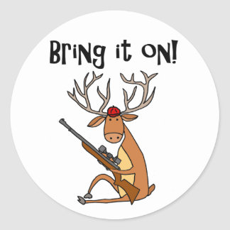 Funny Deer with Hunting Rifle and Cap Classic Round Sticker