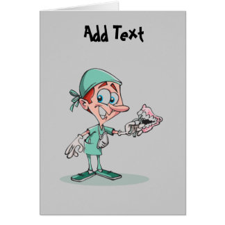 Funny dentist cartoon orthodontist personalized card