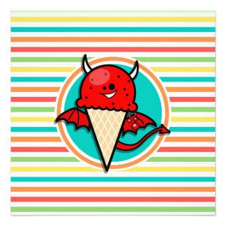 Funny Devil Ice Cream Bright Rainbow Stripes Personalized Invitations