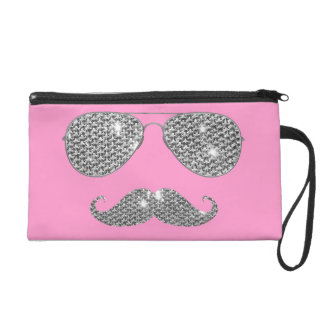 Funny Diamond Mustache With Glasses Wristlet