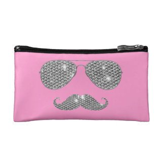 Funny Diamond Mustache With Glasses Makeup Bags