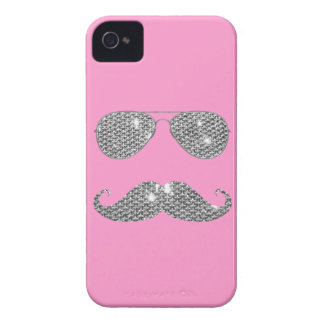 Funny Diamond Mustache With Glasses Case-Mate iPhone 4 Cases