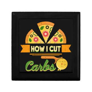Funny Diet Humor - How I Cut Carbs - Pizza Novelty Gift Box