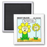 Funny Dieting Flower Best Buds Garden Cartoon Square Magnet
