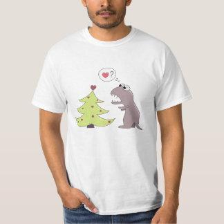 Funny Dinosaur and Christmas Tree Value T-Shirt