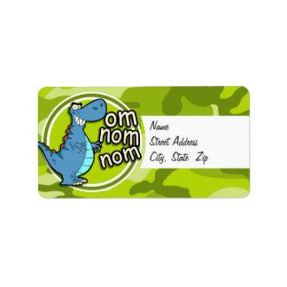 Funny Dinosaur; bright green camo, camouflage Custom Address Label