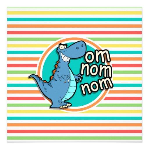 Funny Dinosaur; Bright Rainbow Stripes Custom Announcement
