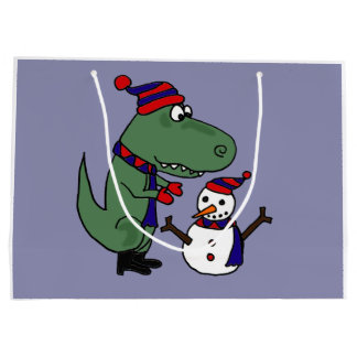 Funny Dinosaur Building Snowman Large Gift Bag