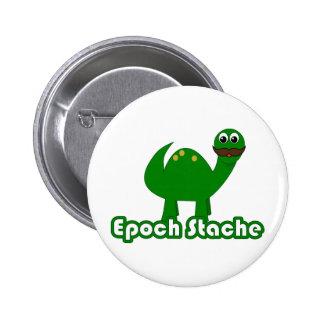 Funny Dinosaur Cartoon - Epoch Stache Pinback Button