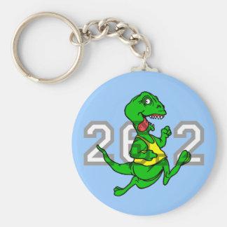 Funny dinosaur marathon basic round button keychain