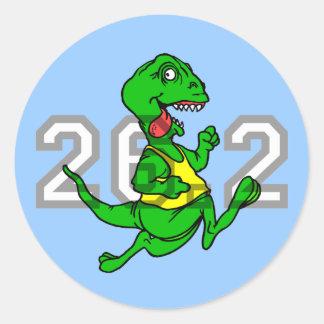 Funny dinosaur marathon classic round sticker